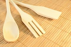 Wooden kitchen tools Stock Images