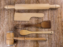 Wooden kitchen tools Royalty Free Stock Images