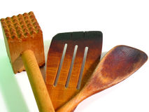 Wooden kitchen tools (close-up). Old, wooden pan jack, spoon and hammer (close-up Royalty Free Stock Photos