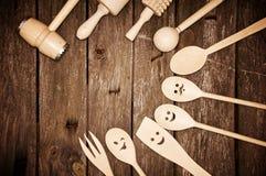 Wooden kitchen tools Stock Photos