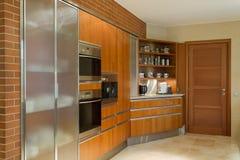 Wooden kitchen unit Stock Image