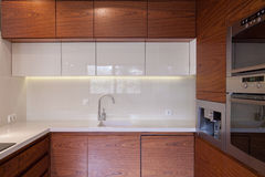 Wooden kitchen unit Stock Photo