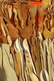 Wooden kitchen utensils. In the farm market Royalty Free Stock Image