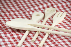 Wooden kitchen utensils Royalty Free Stock Images