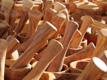Wooden kitchen utensils crafted. SOME wooden kitchen utensils crafted royalty free stock photos