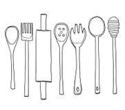 Vintage Kitchen Utensils Illustration vintage kitchen tools hand drawn line art cute illustration stock