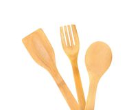 Wooden kitchen utensils set. Royalty Free Stock Photo