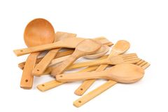 Wooden kitchen utensils set. Royalty Free Stock Image