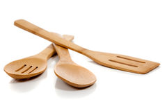 Wooden kitchen utensils on white Stock Image