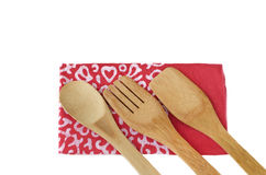 Wooden kitchen utensils  on white Royalty Free Stock Images