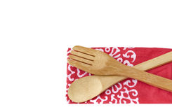 Wooden kitchen utensils  on white Royalty Free Stock Photography