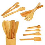 Wooden kitchen utensils. On a white background. Collage Stock Images