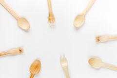 Wooden kitchen utensils on white background top view mock up Stock Photo