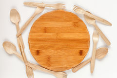 Wooden kitchen utensils on white background top view pattern Stock Photos