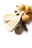 Wooden kitchen-ware. Isolated on white stock image