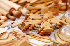 Wooden kitchenware and decorations sold on Easter market in Vilnius Royalty Free Stock Images