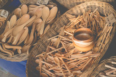 Wooden kitchenware handicrafts Royalty Free Stock Photography