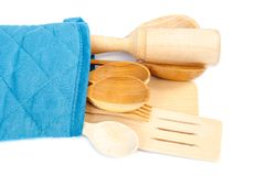 Wooden kitchenware isolated on a white background.  royalty free stock image