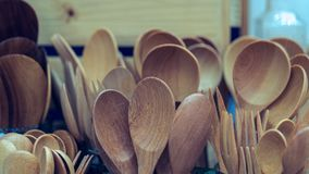 Wooden Kitchenware And Kitchen Utensil Set royalty free stock image