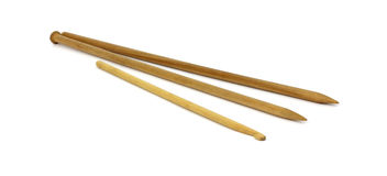 Wooden Knitting Needles and Crochet Hook Royalty Free Stock Photos