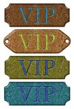 Wooden label,VIP, 3d. Set wooden label,VIP, isolated on the white background. 3d Stock Photo