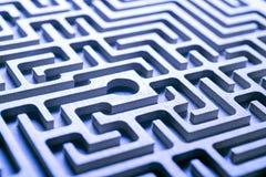 Wooden labyrinth, blue light Stock Image