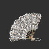 Wooden with lace oriental fan Royalty Free Stock Image