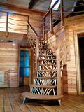 Wooden ladder. Interior with natural wood, cozy home Royalty Free Stock Photos