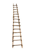 Wooden ladder. Old wooden ladder on the white background Stock Photography