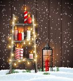 Wooden ladder with Christmas candles, lights and lantern. Christmas theme, wooden ladder with candles, led lights and old lantern in snow on dark brown wooden vector illustration
