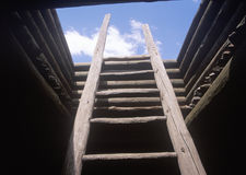 Wooden ladder leading to mud roof of the Spanish Mission, Pecos National Historical Park, NM Stock Image