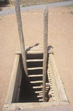Wooden ladder leading to mud roof of the Spanish Mission, Pecos National Historical Park, NM Royalty Free Stock Images