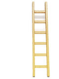 Wooden ladder near white wall Royalty Free Stock Image