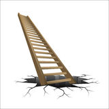 Wooden ladder rising from cracked ground Stock Photo