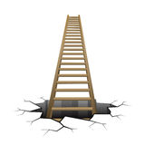 Wooden ladder rising from cracked surface Stock Photo
