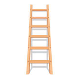 Wooden ladder with shadow. Vector illustration in flat style,  on white background Royalty Free Stock Photo