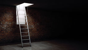 Wooden ladder to the attic with light. Stock Photography