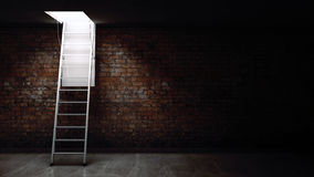 Wooden ladder to the attic with light. Royalty Free Stock Photos