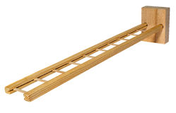 The wooden ladder a toy for children to play. The ladder lying at an angle. Stock Photos