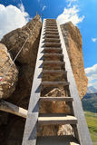 Wooden ladder on via ferrata Royalty Free Stock Images