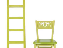 Wooden Ladder and a  wooden chair isolated on white background Stock Photography