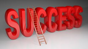 Ladder to climb the SUCCESS - 3D rendering. A wooden ladder is at the word SUCCESS written with red glossy 3D letters standing on a white surface - 3D rendering Royalty Free Stock Photo