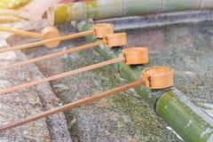 Wooden ladle in shrine yufuin kyushu japan Royalty Free Stock Photos