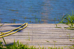Wooden Lake dock. Wooden Lake dock on sunny day Royalty Free Stock Photo