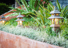 Wooden lamp decorated in garden Royalty Free Stock Images