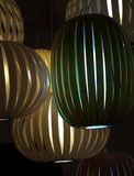 Wooden lamp shades Stock Photography