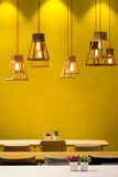 Wooden lamps and light bulbs Stock Image