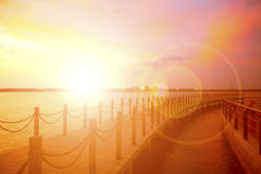 Wooden landing stage. Royalty Free Stock Photos