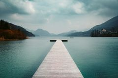 Free Wooden Landing Stage With Alpine Lake In Summer Royalty Free Stock Photo - 146449695