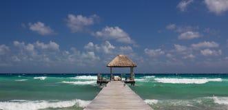 Wooden Landing in the Tropical Ocean Stock Photos